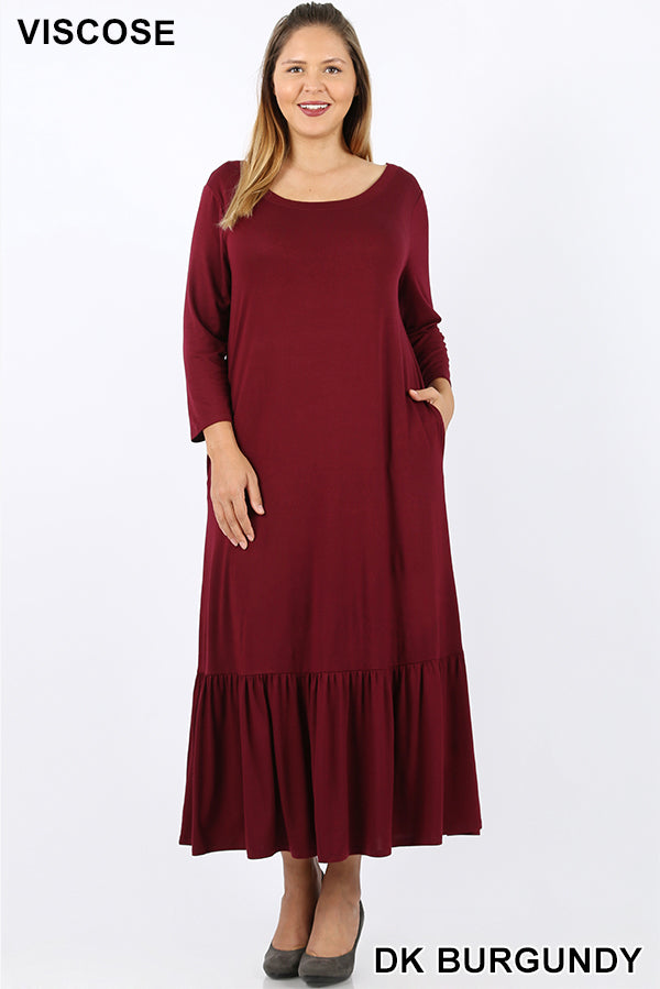 PLUS VISCOSE 3/4 SLEEVE RUFFLE HEM LONG DRESS