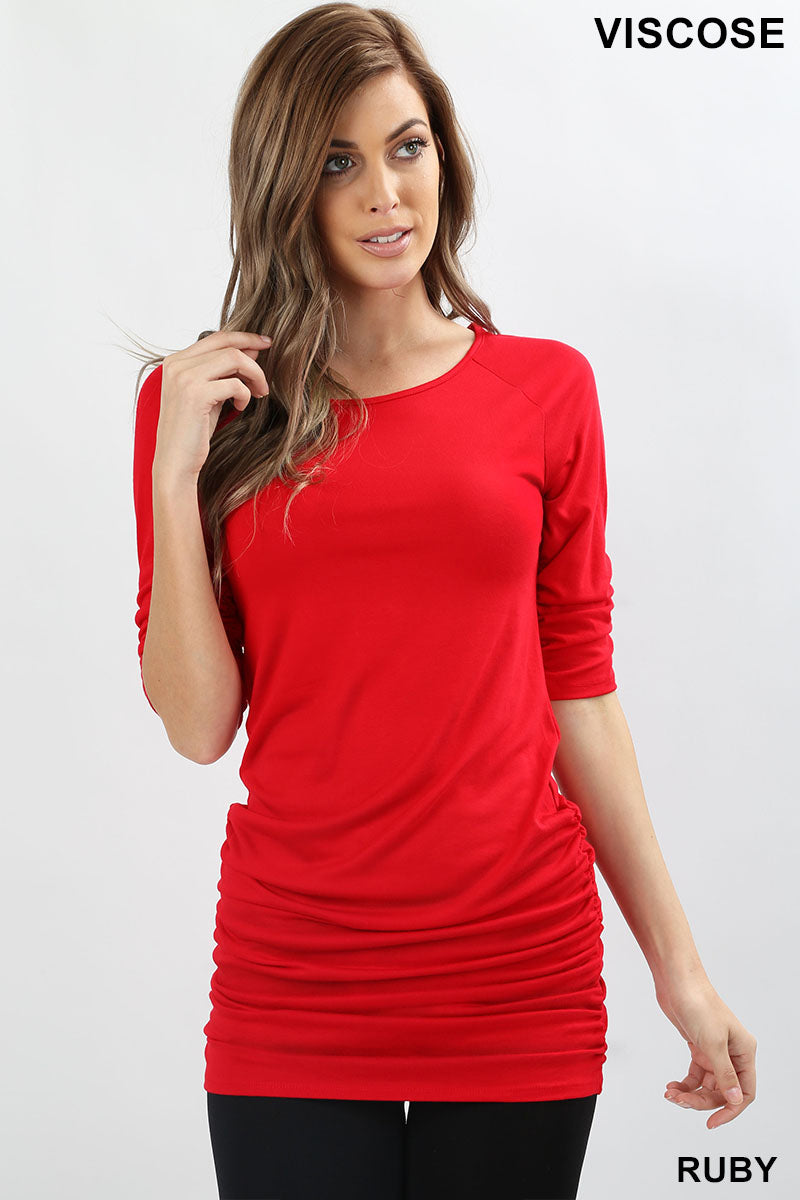 VISCOSE FABRIC 3/4 SLEEVE TUNIC WITH SHIRRING DETAIL