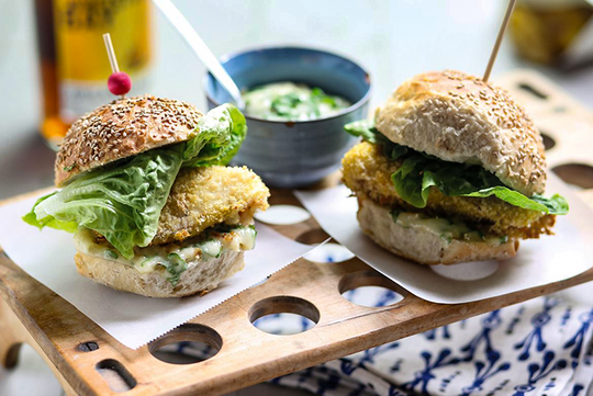 Honey Hake Sliders with a Light Mustard-Mayo Aioli