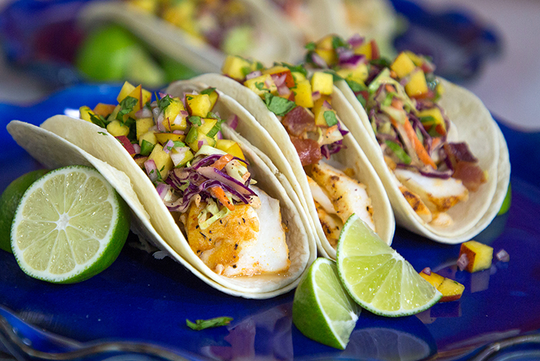 Lime Tuna Fish Tacos with Peach Salsa
