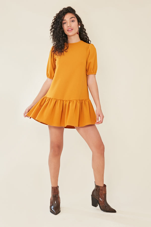 Peplum Hem Puff Sleeve Shift Dress </br> Yellow