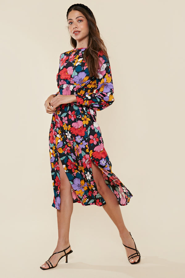 Retro Floral Shirred Waist Midi Dress <br> Multi