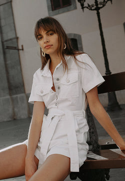 Belted Utility Playsuit <br> White