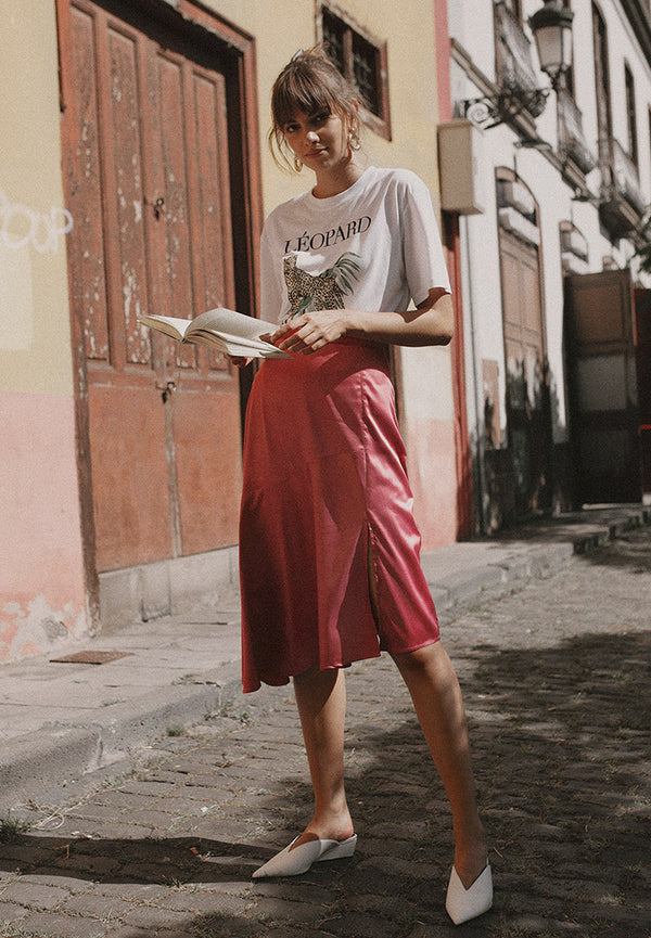 Asymmetric Satin Midi Skirt <br> Pink