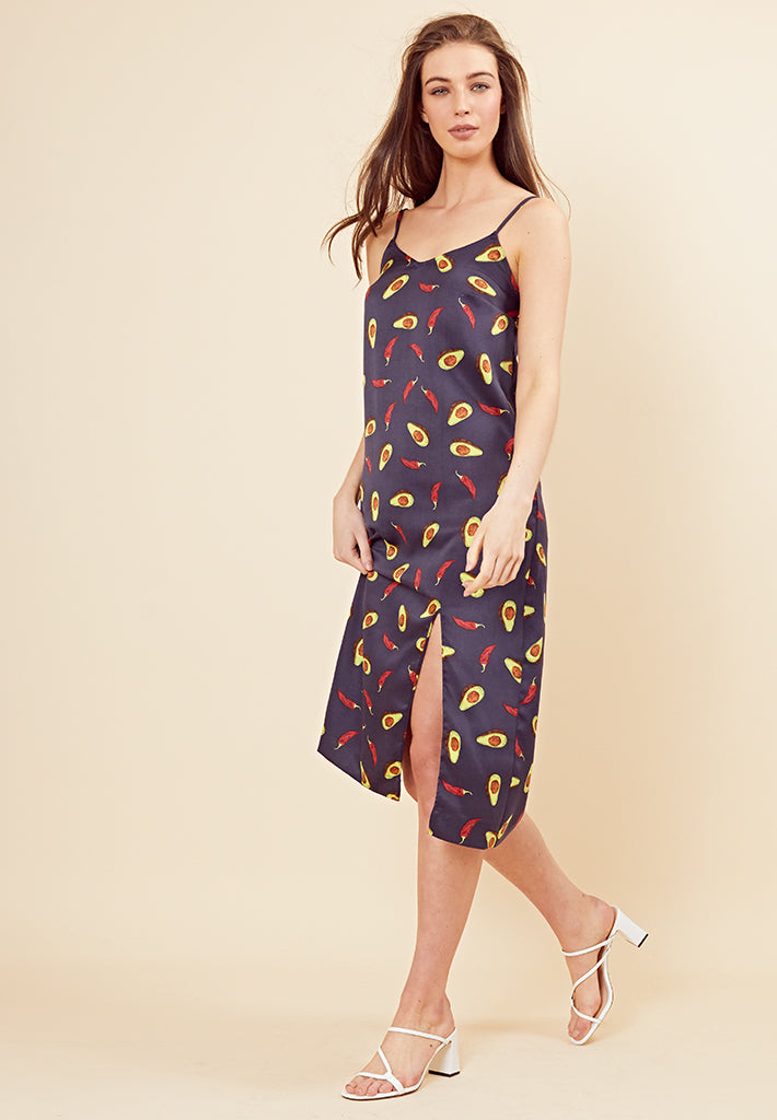 Avocado Satin Slip Dress <br> Navy