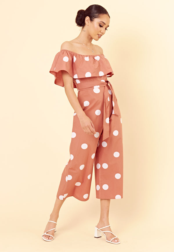 Spot Bardot Culotte Jumpsuit <br> Brown