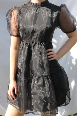Organza Tie Back Mini Smock Dress <br/> Black