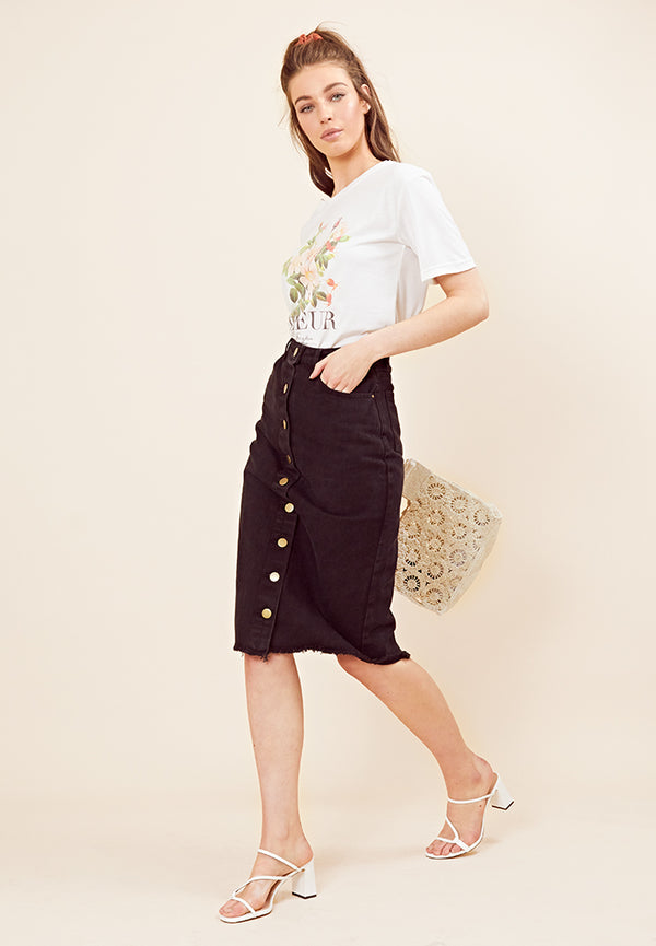 Black Denim Midi Skirt <br> Black