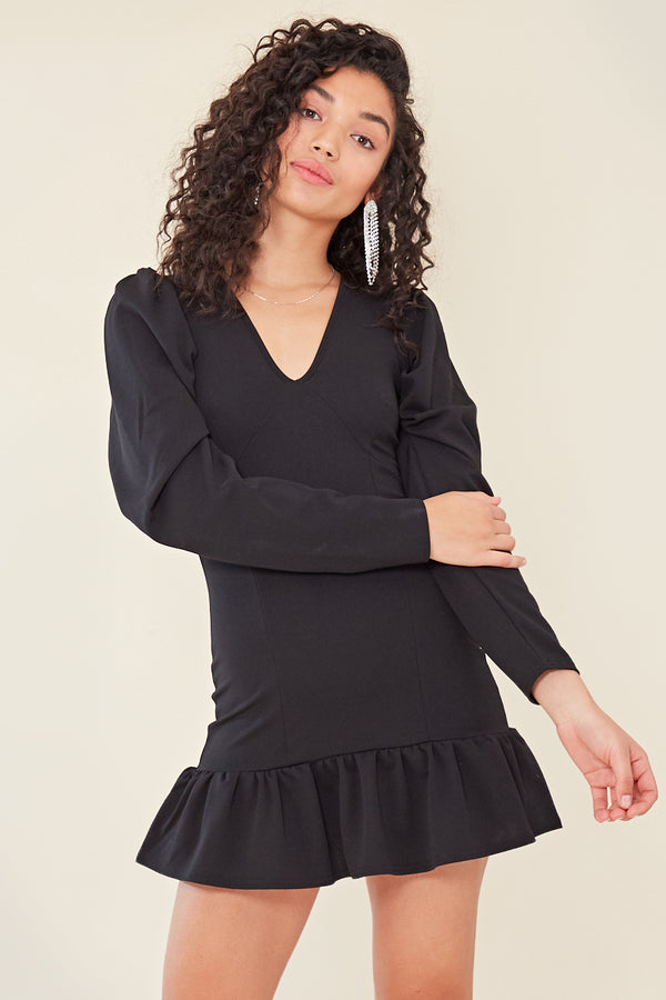 Plunge Peplum Hem Mini Dress </br> Black