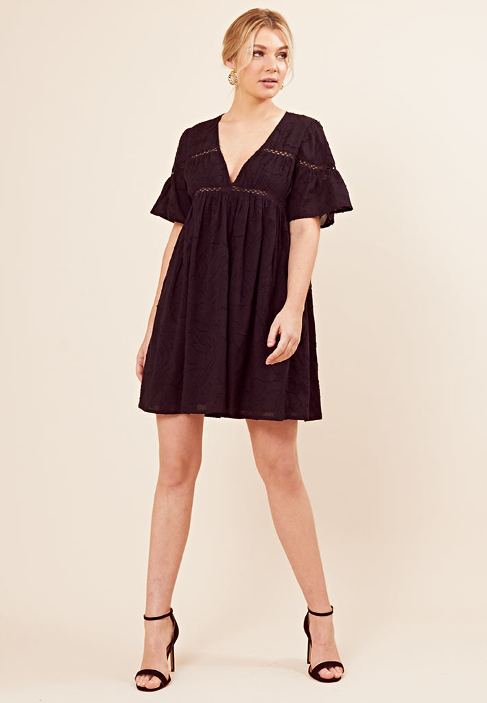 Cheese Cloth Smock Dress <br> Black