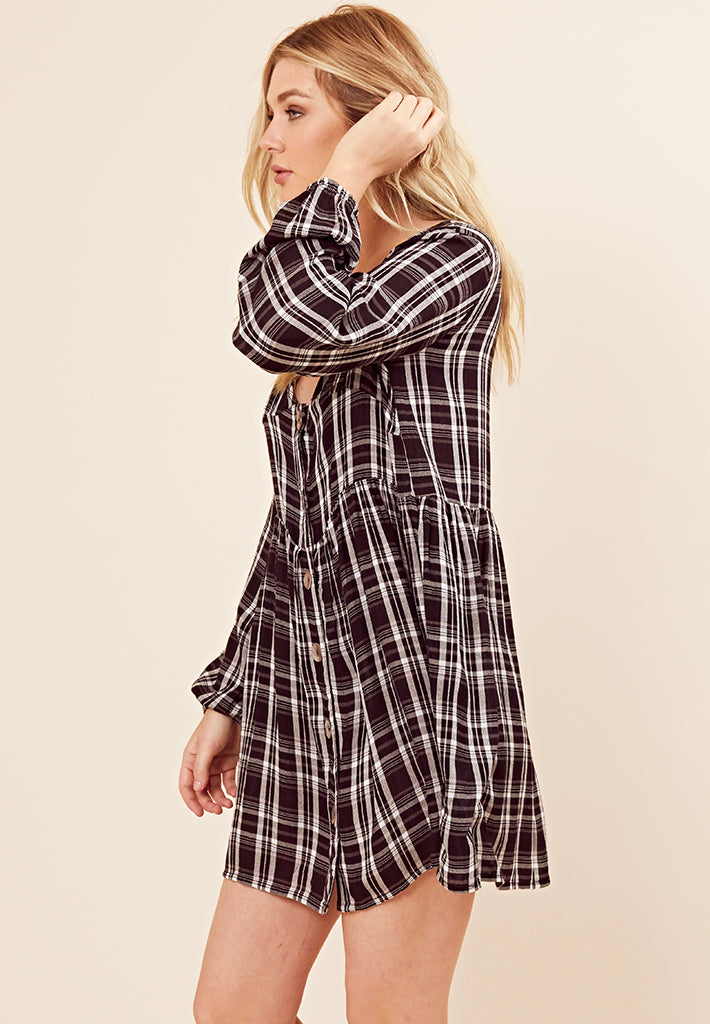 Check Smock Dress <br> Black