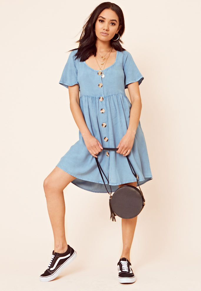Chambray Smock Dress <br> Blue