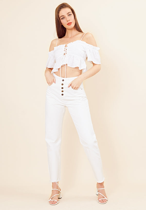 Broderie Lace Up Crop Top <br> White