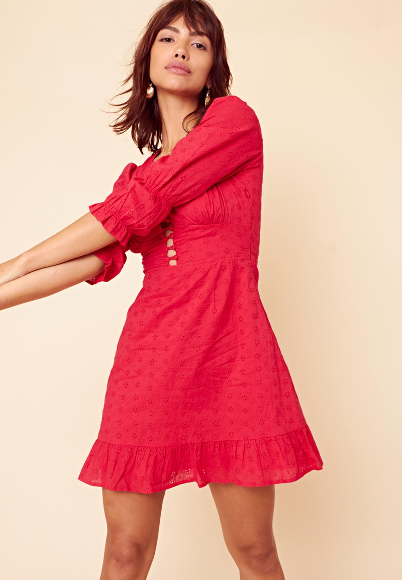 Broderie Plunge Mini Dress <br> Red