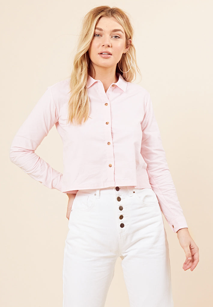 Button Front Corduroy Shirt <br> Pink