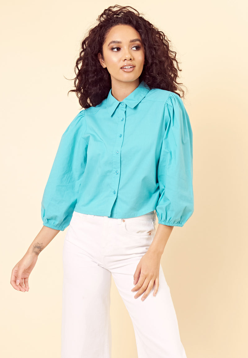 Vintage Balloon Sleeve Blouse <br> Turquoise