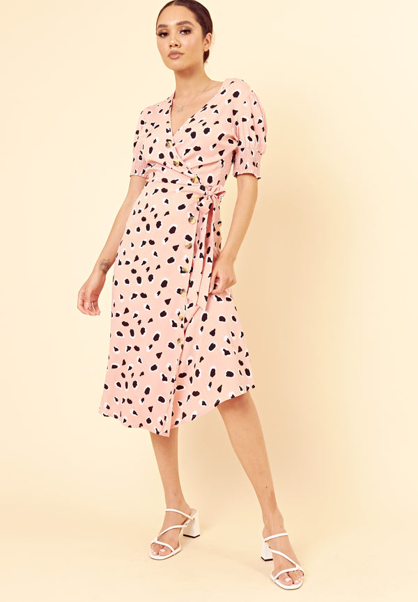 Abstract Spot Midi Wrap Dress <br> Pink