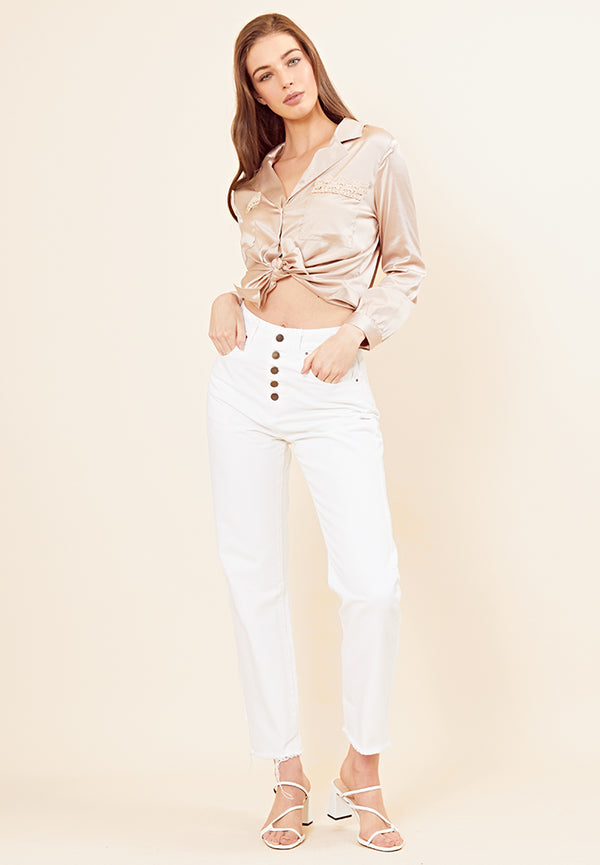 High-Waist Mom Jeans <br> White