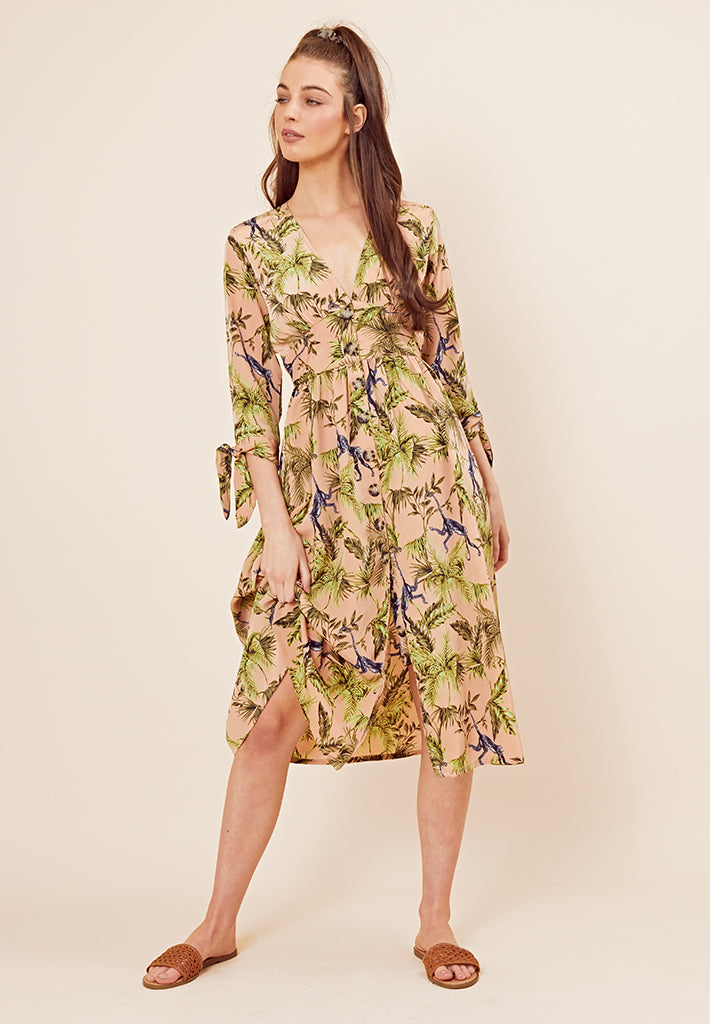 Button Front Monkey Print Midi Dress <br> Beige