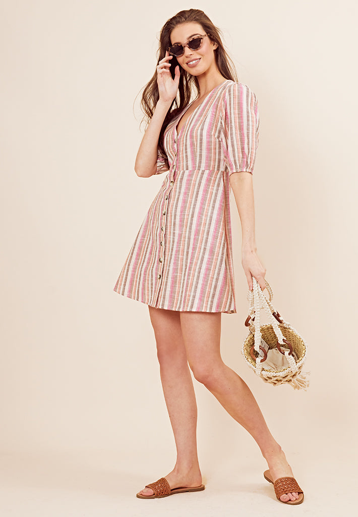 Button Front Stripe Tee Dress <br> Multi
