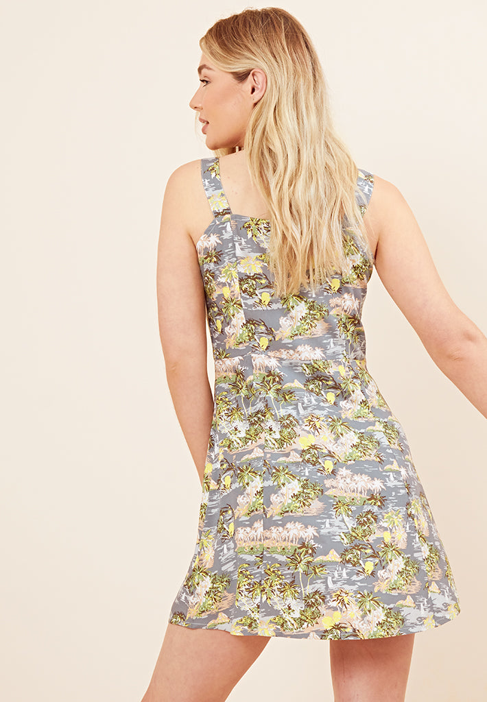 Tropical Print Pinafore Dress <br> Blue