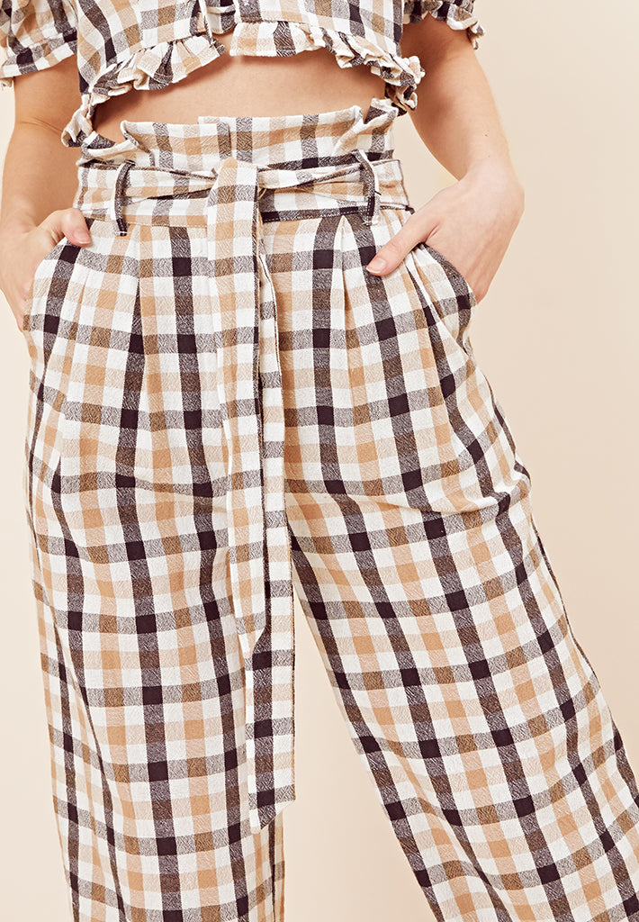 Paper Bag Check Wide Leg Trouser <br> Beige