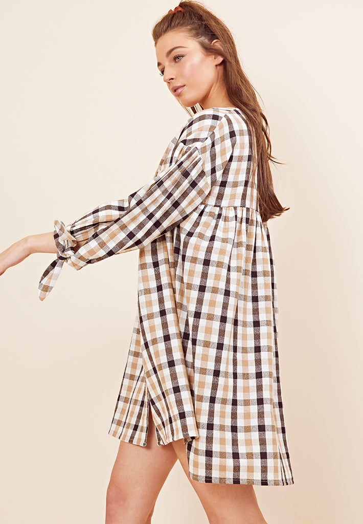 Tie-Sleeve Check Smock Dress <br> Beige