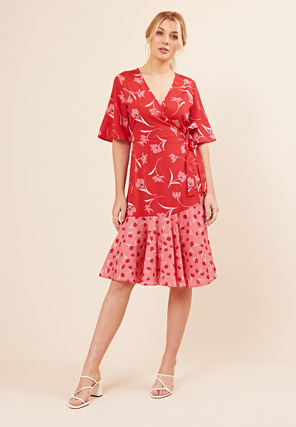 Contrast Print Wrap Midi Dress <br> Red