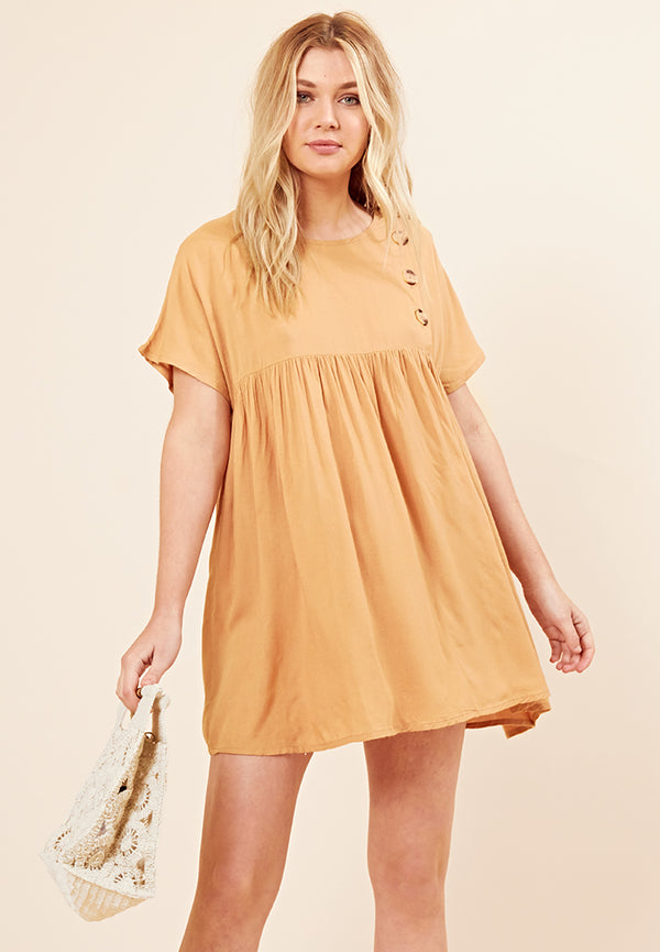 Button Front Smock Dress <br> Orange
