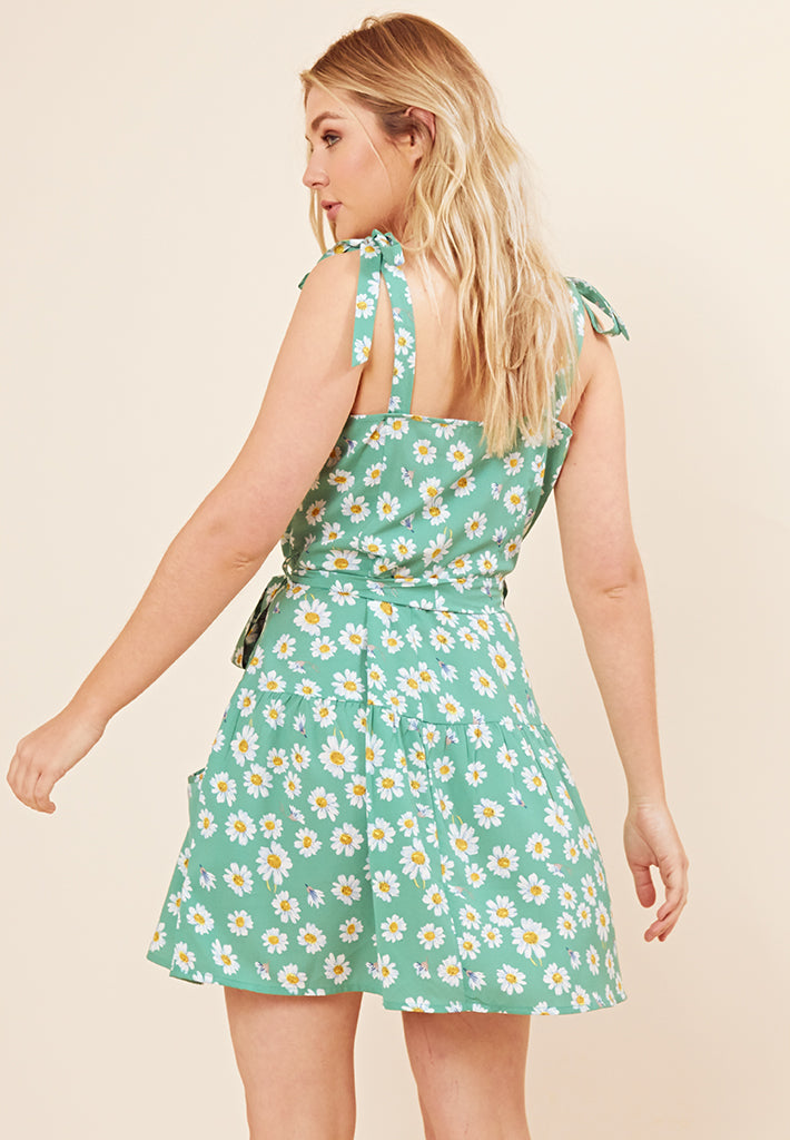 Daisy Print Mini Dress <br> Green