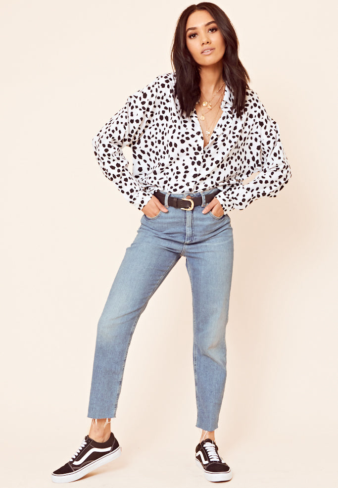 Dalmation Print Oversized Shirt <br> White