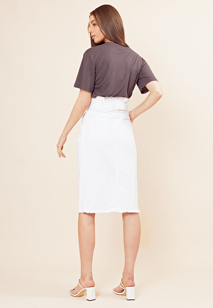 Denim Belted Midi Skirt -<br>White