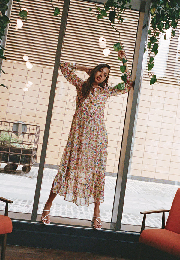 Ditsy Floral Maxi Shirt Dress <br> Multi