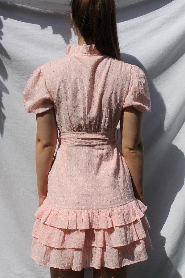 Textured Dobby Ruffled Mini Dress <br/> Pink