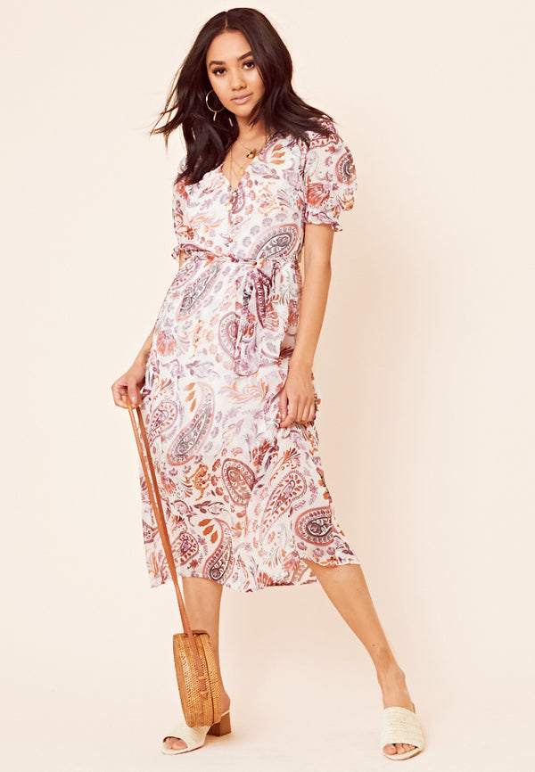 Paisley Floral Print Midi Dress <br> Multi