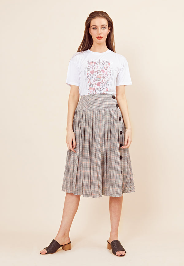 Check Pleated Midi Skirt <br> Multi