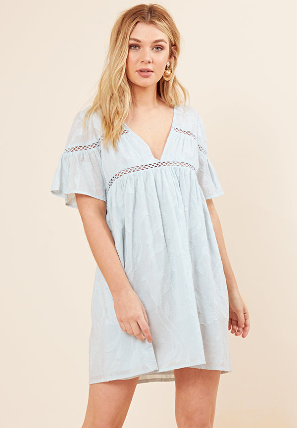 Cheese Cloth Smock Dress <br> Blue