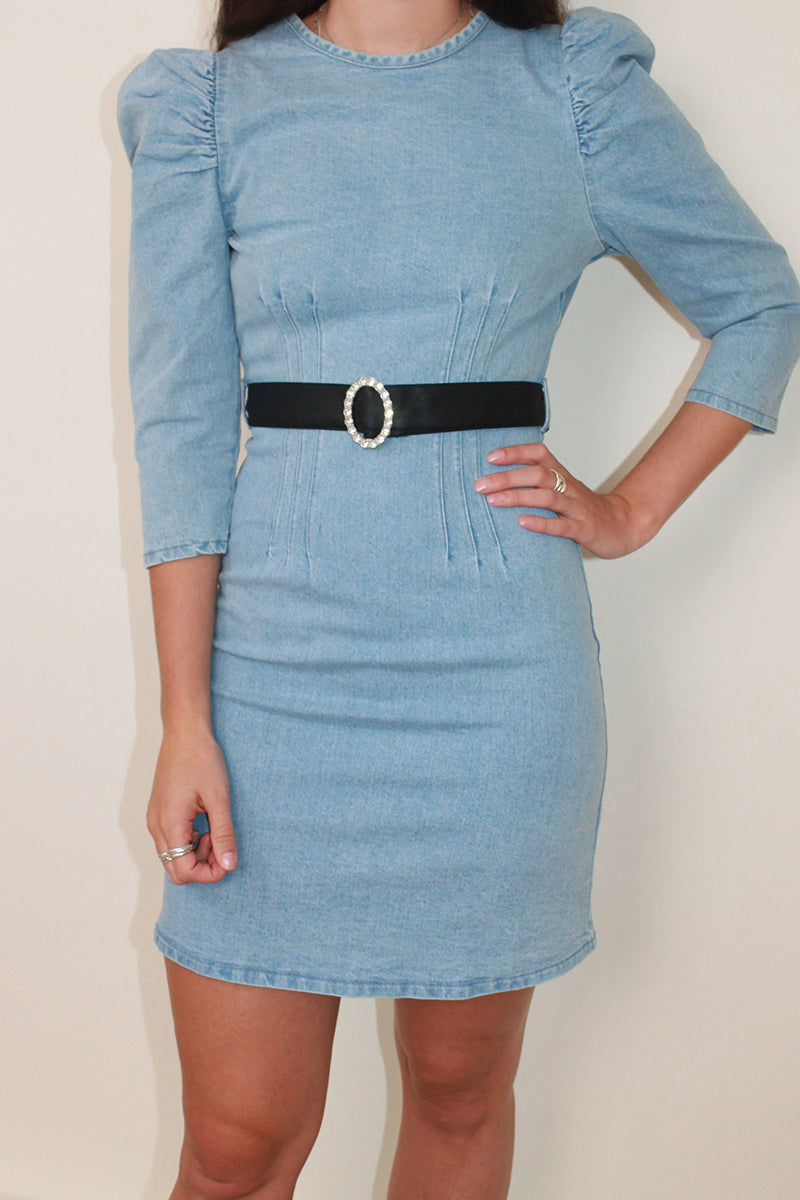 Puff Sleeves Fitted Denim Mini Dress <br/> Blue