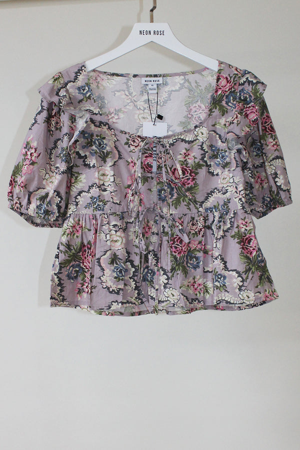 Esmee Tapestry Tie Front Milkmaid Top <br/> Purple