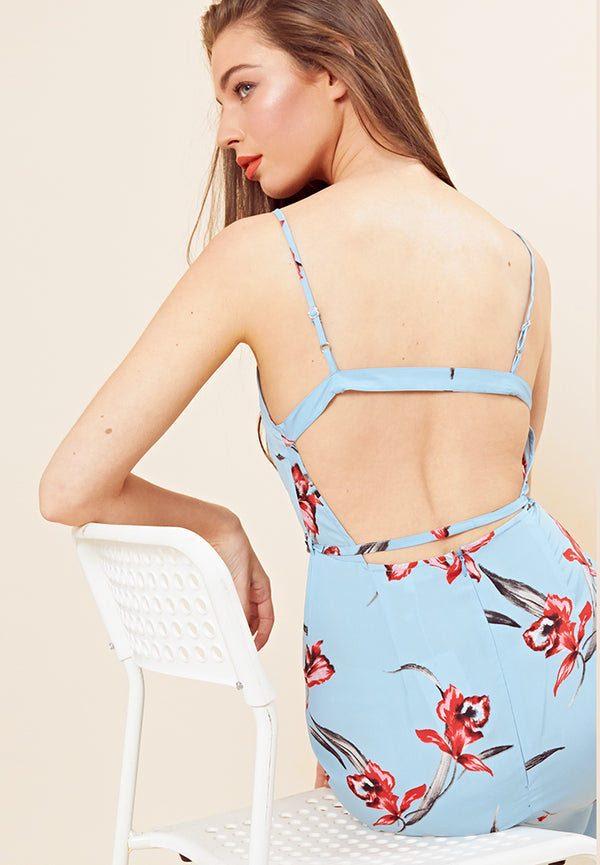Floral Open Back Cami Midi Dress <br> Blue