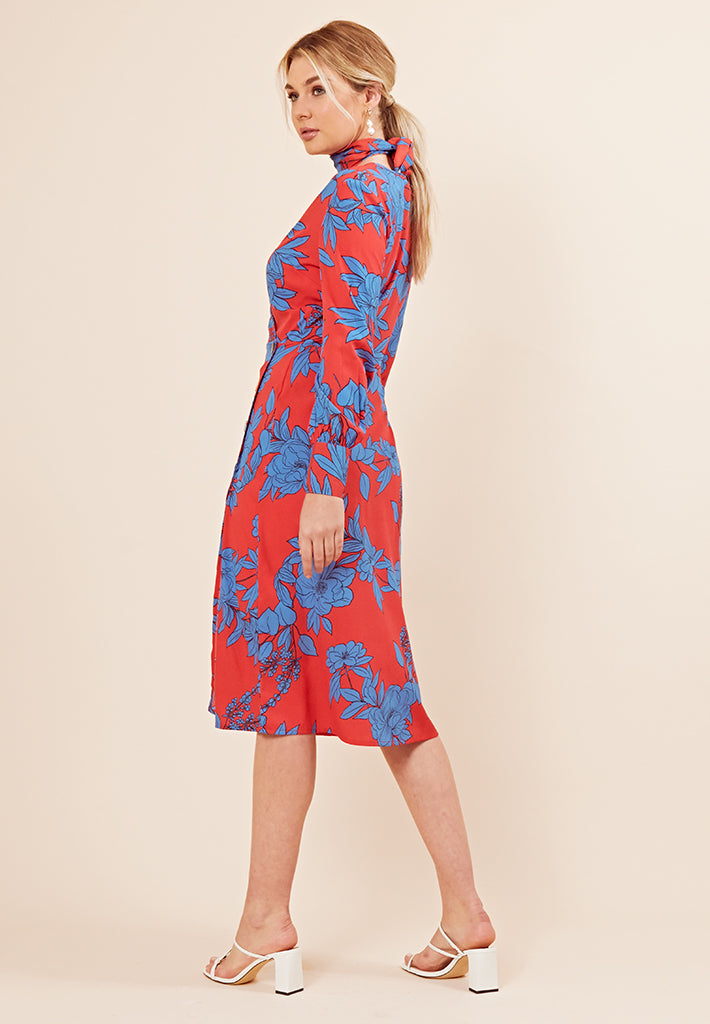 Floral Print Button Detail Midi Dress <br> Red