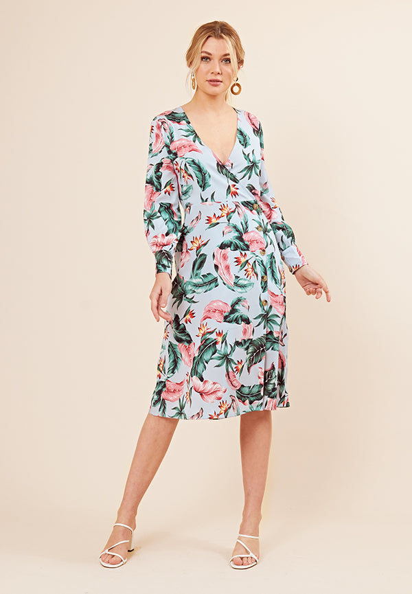Floral Print Button Detail Midi Dress <br> Blue