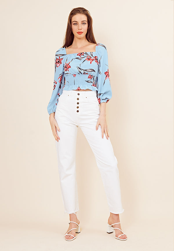 Floral Shirred Crop Top <br> Blue