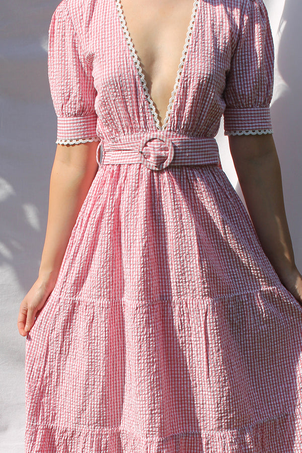 Gingham Plunge Lace Trim Midaxi Dress<br/> Red