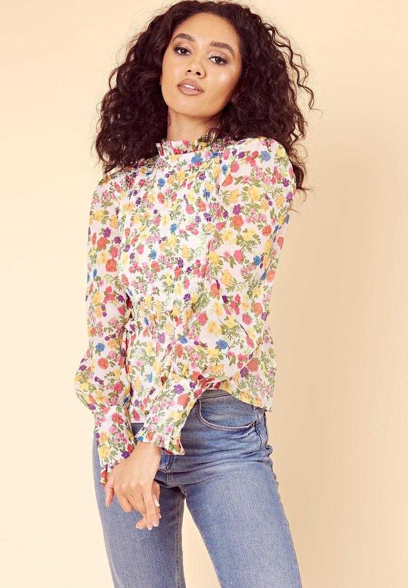 Shirred High Neck Ditsy Blouse <br> Multi