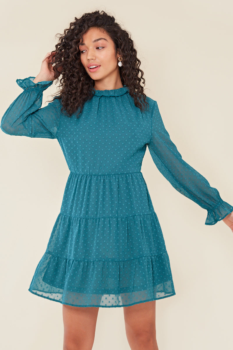 Spot High Neck Tiered Dress </br> Green