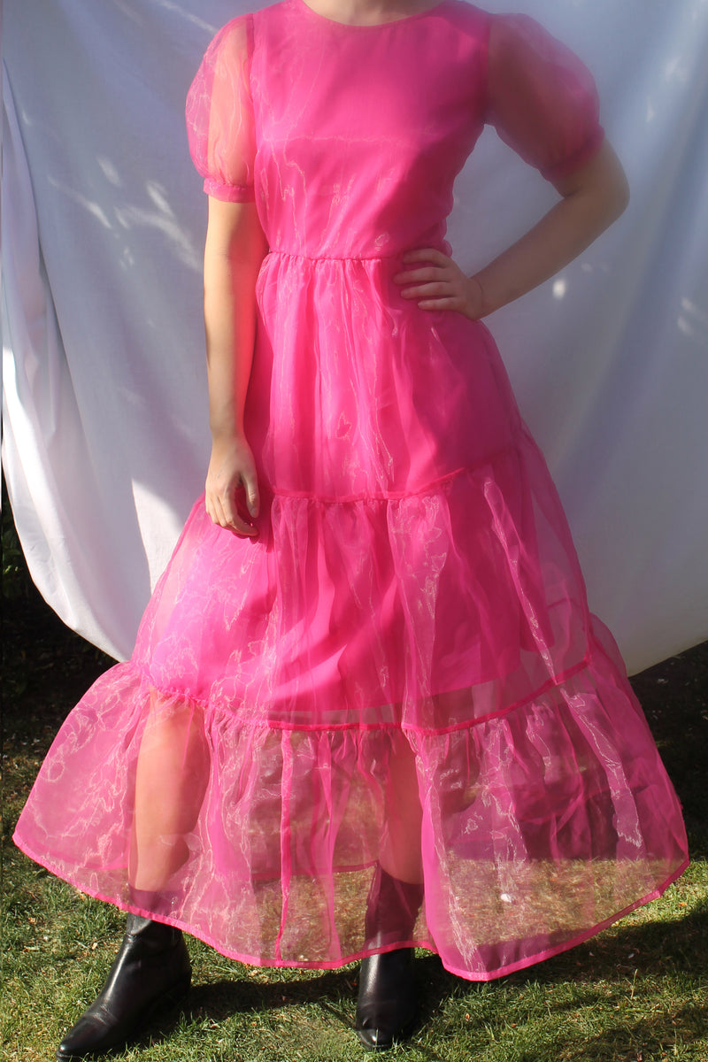 Organza Tie Back Midi Smock Dress <br/> Pink