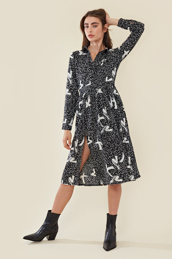 Midi Shirt Dress in Abstract Print </br> Multi