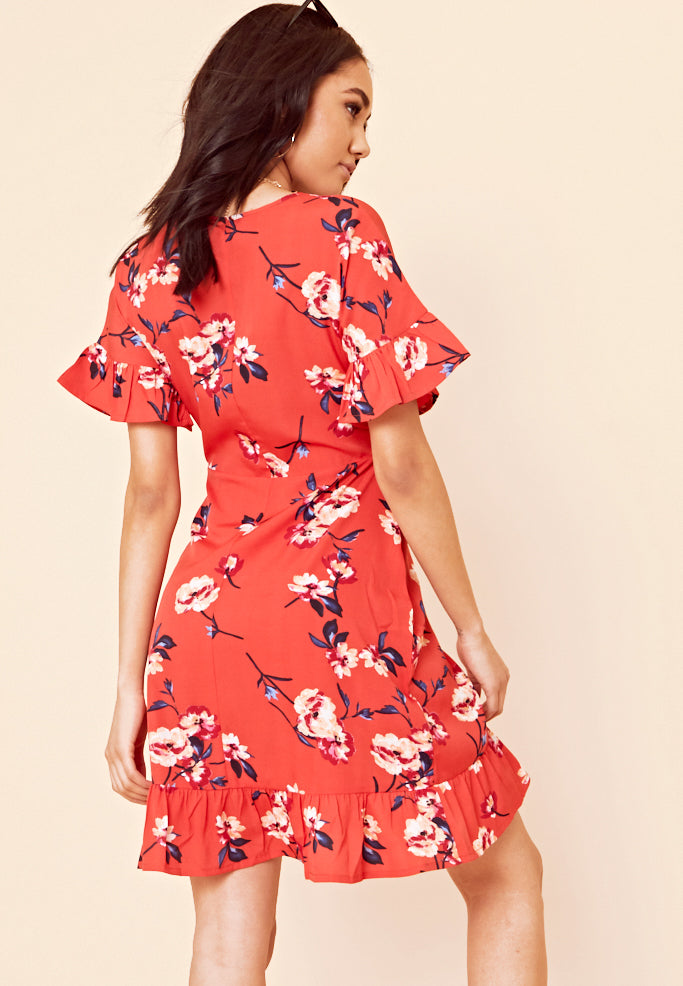 Floral Wrap Frill Mini Dress <br> Red
