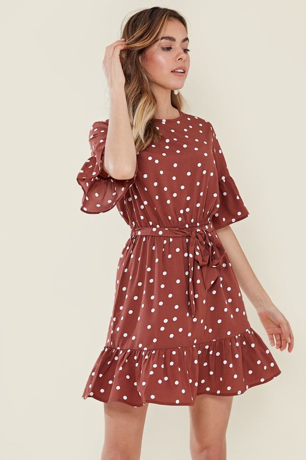 Frill Sleeve And Drop Frill Hem Skater Dress <br/> Brown/Rust